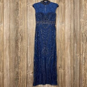 SUE WONG Beaded Sutache Evening Gown Dress